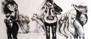 Ronald Muchatuta, Zimbabwe/SA (1980-) Tribal, signed 2016 (Triptych) Charcoal on Paper 300cm x 150cm
