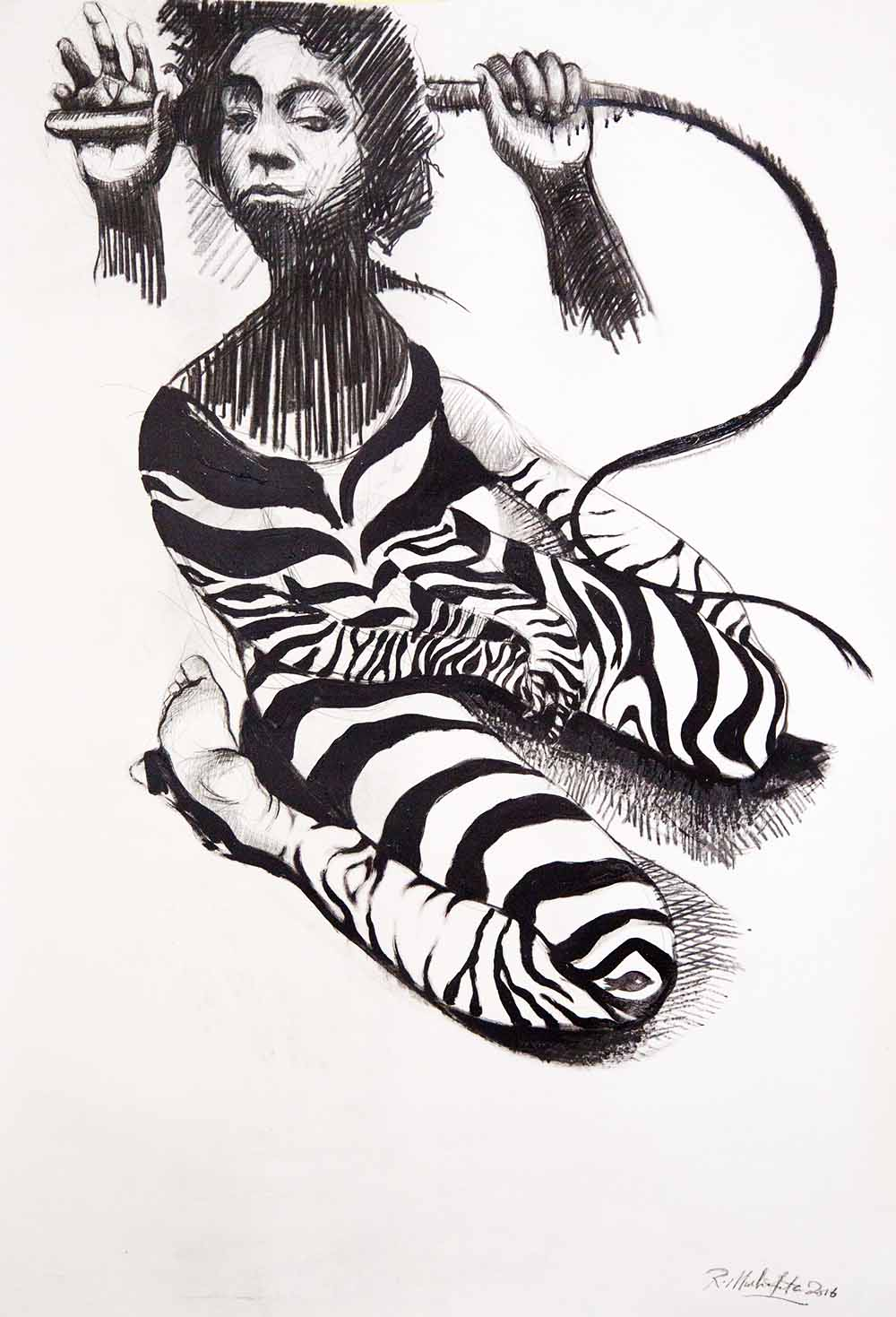 Ronald Muchatuta - Striped - 139.5 x 100 cm