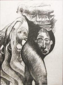 Ronald Muchatuta, Zimbabwe (1980-) Tribal, signed 2016 (panel 3) Charcoal on Paper 95cm x 150cm
