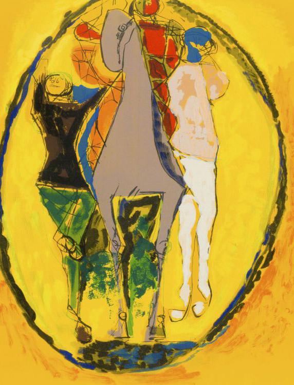 Marino Marini ( Italian 1901 - 1980) Magia (Magic Acrobat and Horse) signed 1974 Colour Lithograph , EA 62cm x 43cm