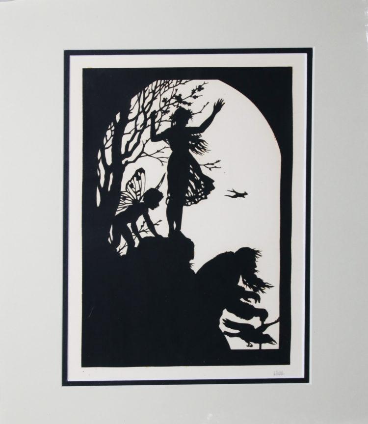 Otto Kubel, German (1868-1951) Silhoutte Paper Cut-Out 15,5cm x 23cm