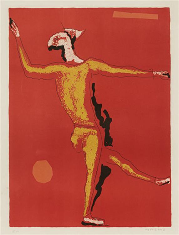 Marino Marini, ( Italian 1901 - 1980) Ballerino Signed 1976 Colour Lithograph, EA 64,5cm x 48cm