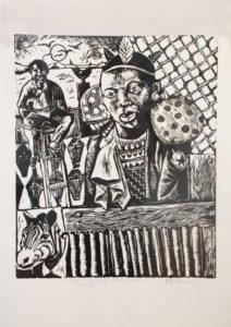 Ricky Dyaloyi, SA (1983-) Shepherd be careful, Wolves and Leopards are still after you Linocut A/P 41cm x 49cm