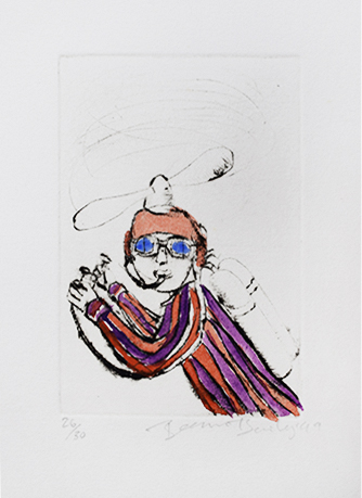 Beezy Bailey , (SA 1962 - ) Flying Man Sam Signed 1999 Hand coloured Drypoint Etching WP 9,5cm x 14,5cm