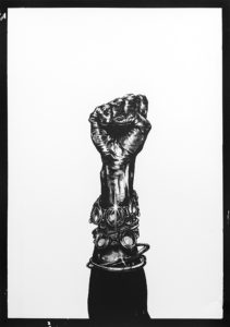 Katlego Tlabela, Untitled (Fist), 2016, Offset Photo-Lithograph on Opale Woven Pure White 250gsm, Edition of 10 + 2 AP, 1080 x 800 (framed)