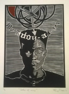 Phillip Mabote, SA (1982-) Index of Mind Linocut, edition 10 50cm x 35cm