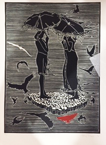 Phillip Mabote Chasing the Sunset Linocut, edition 10 51 x 35 cm