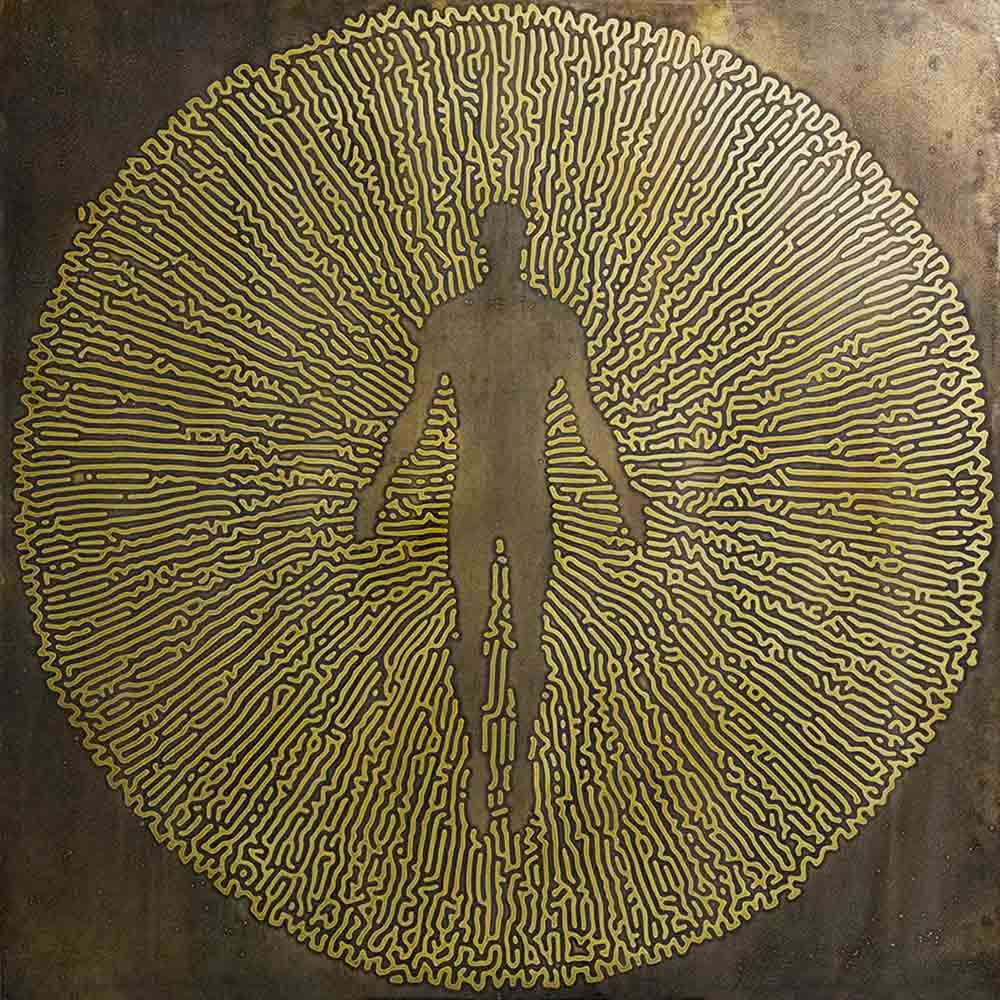 Stanislaw Trzebinski Mushrrom coral Male 2017 Etched brass and archival epoxy resin 2 of 3 100 x 100 cm