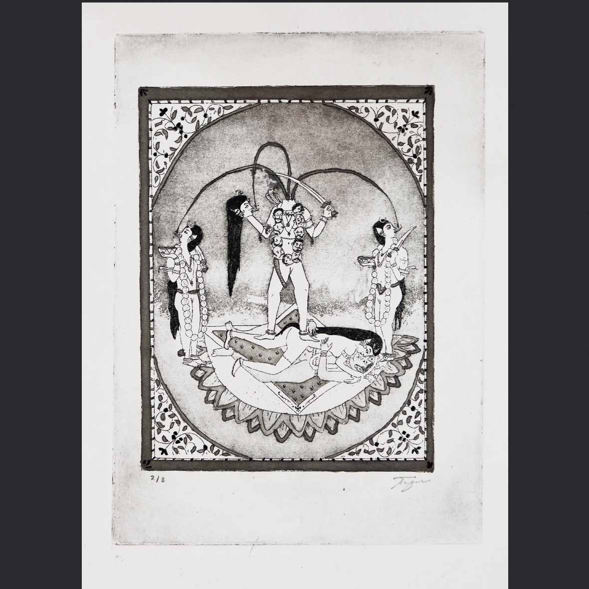 Tyra Naidoo An ode to desi woman, an ode to me, (An ode to the Tantric Devi Series, Guler workshops 1800's) 2018 Etching, aquitint and indian ink on Rosapina Fabriano (edition of 3) 36 x 28 cm - framed (1/3) 35 x 24.5 cm - unframed ( 2/3 & 3/3)