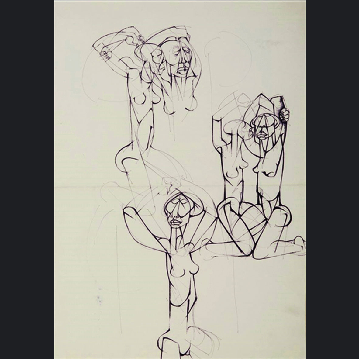 Dumile Feni, (Zwelidumile Mxgazi), SA (1942-1991), Figure studies, pen and ink on paper, 38cm x 54 cm