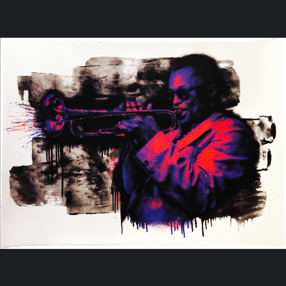 Mr. Brainwash(Therry Guetta), France (1966-), Miles Davis, Signed 2015,Thumbprint of Artist in verso, Six colourway Screenprint on Archival Paper, Purple-Orange edition 9of50, 75 x 55 cm