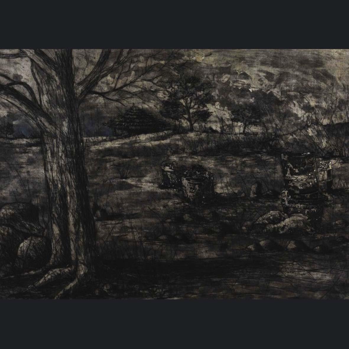 Phillemon Hlungwani, SA(1974-), Laha Kuaka Moya Nandizilo Nya, Signed 2005,etching AP edition of 20, 60 x 84 cm