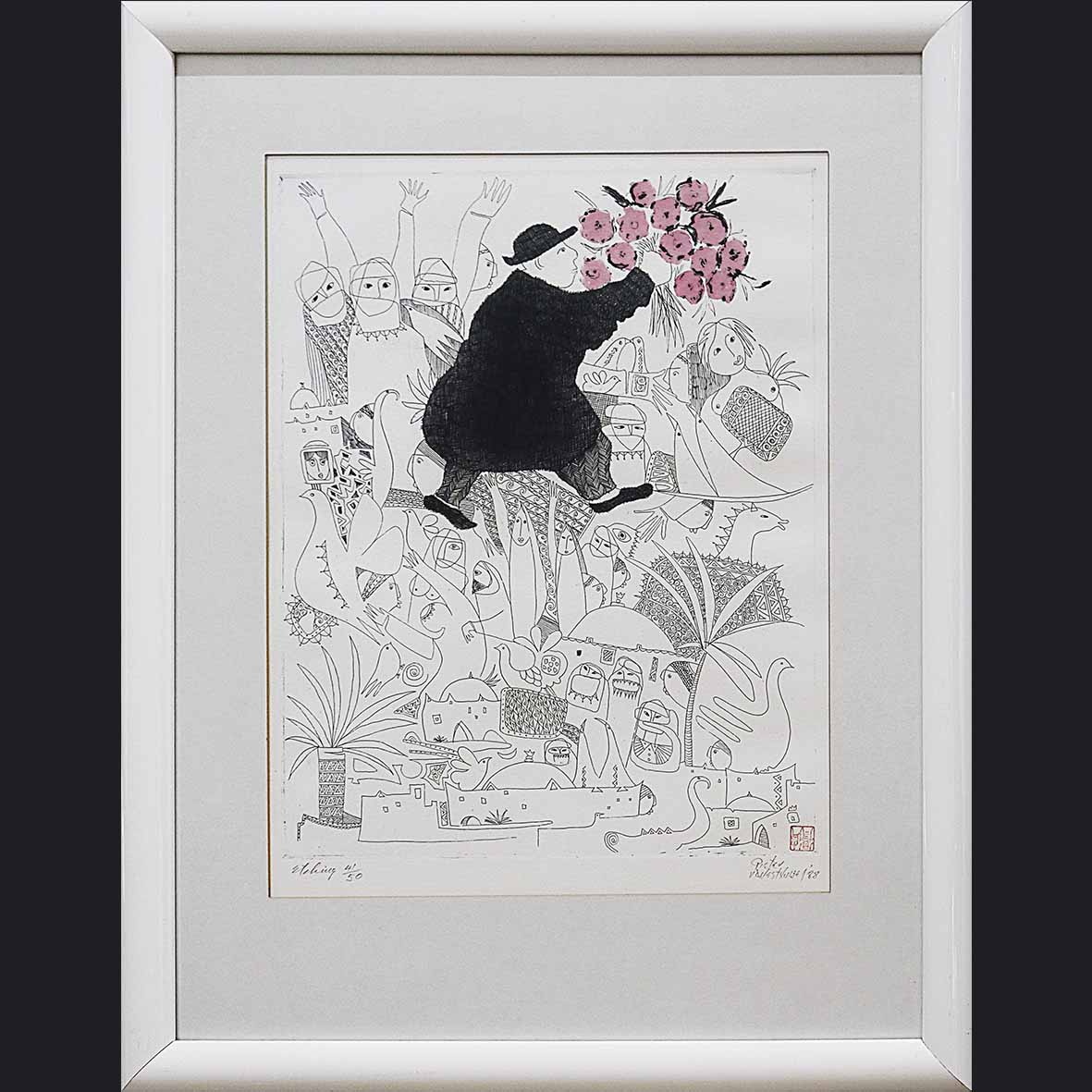 pieter van der Westhuizen, SA(1920-2010), untitled, signed 1988, etching 41 of 50. 40x50 cm