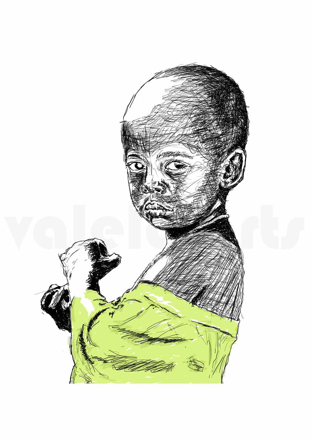 Sandile Valela Busuku Nobuzwe ( yellow) signed 2018 Digital Sketch, editionof3 29cm x 42cm