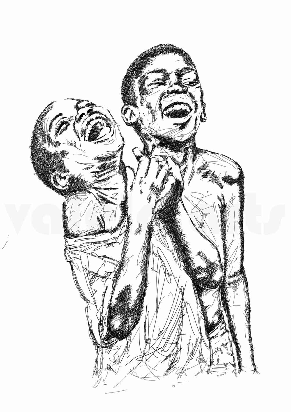 Sandile Valela Busuku Ulonwabo-2 (2 boys) signed 2018 Digital Sketch, edition 2of3 29cm x 42cm