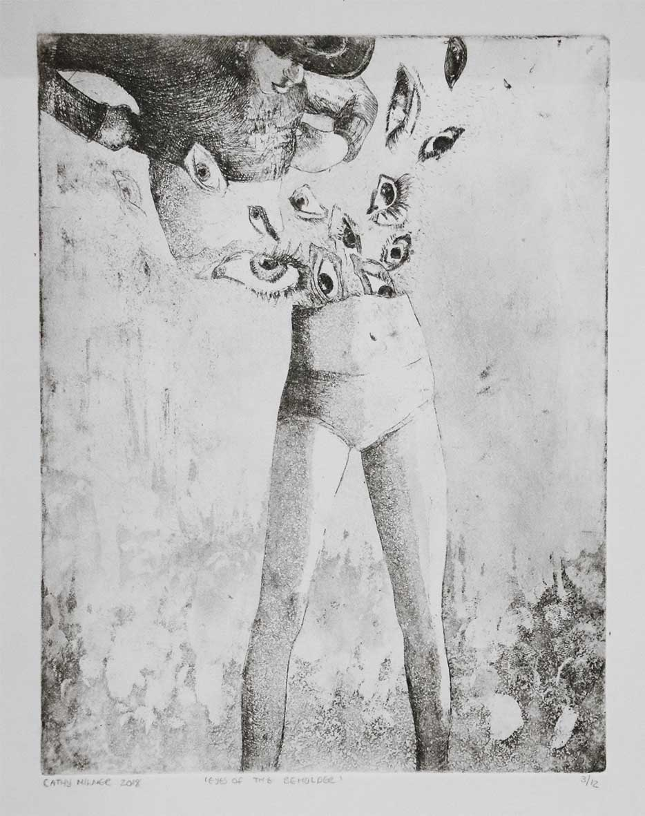 Cathy Milner Eyes of the Beholder 2019 Hardground Etching & Aquatint , 3of12 26cm x 32cm