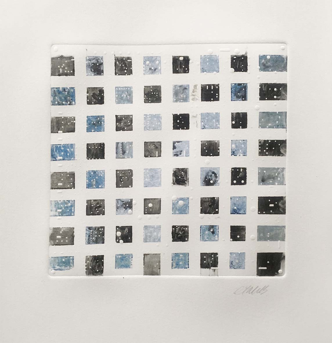 Cheryl Traub-Adler Grid Squares 2019 Monotype ,1of1 52cm x 36cm