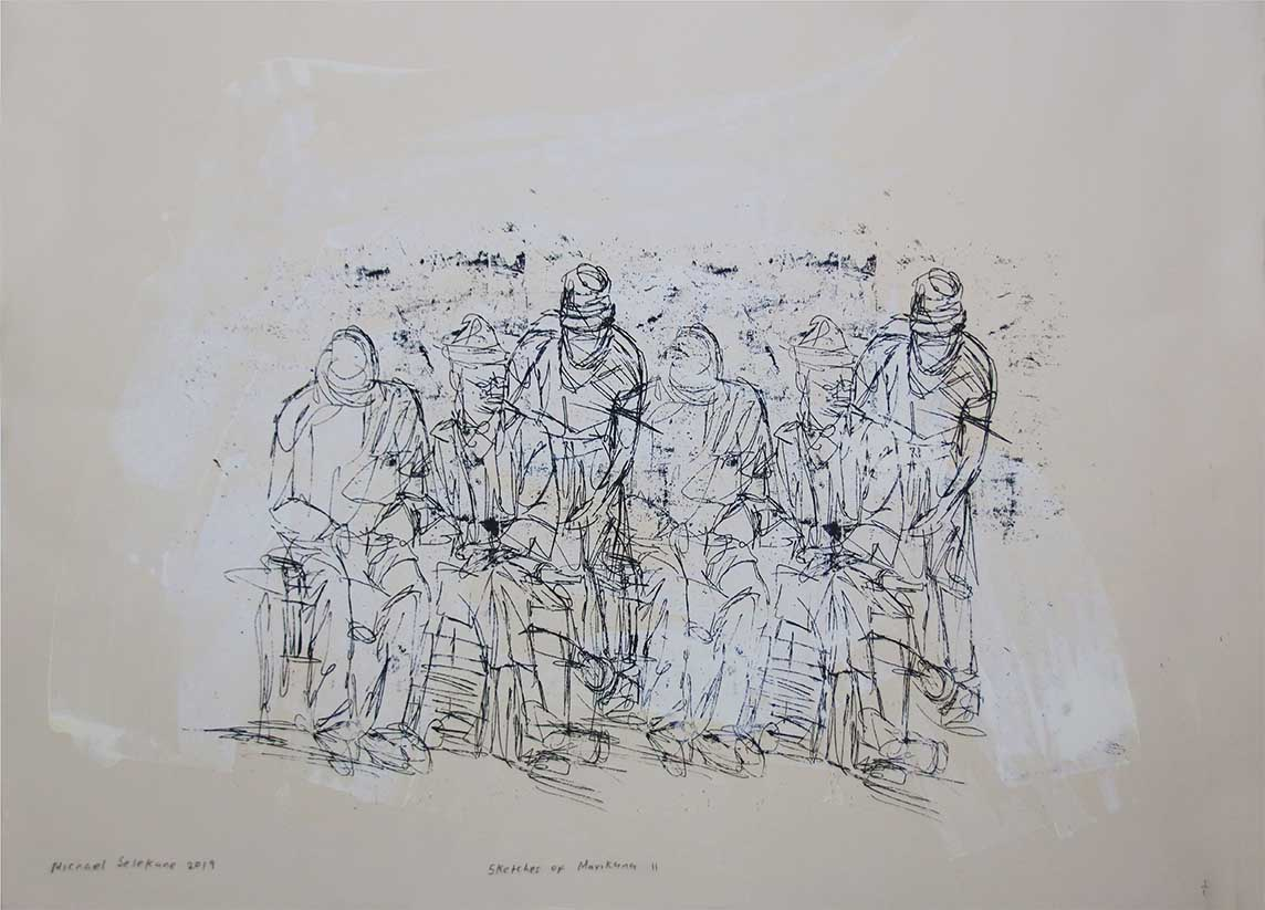 Michael Selekane Sketches of Marikana 2019 Silkscreen and paint monoprint 1of1 70cm x 50cm