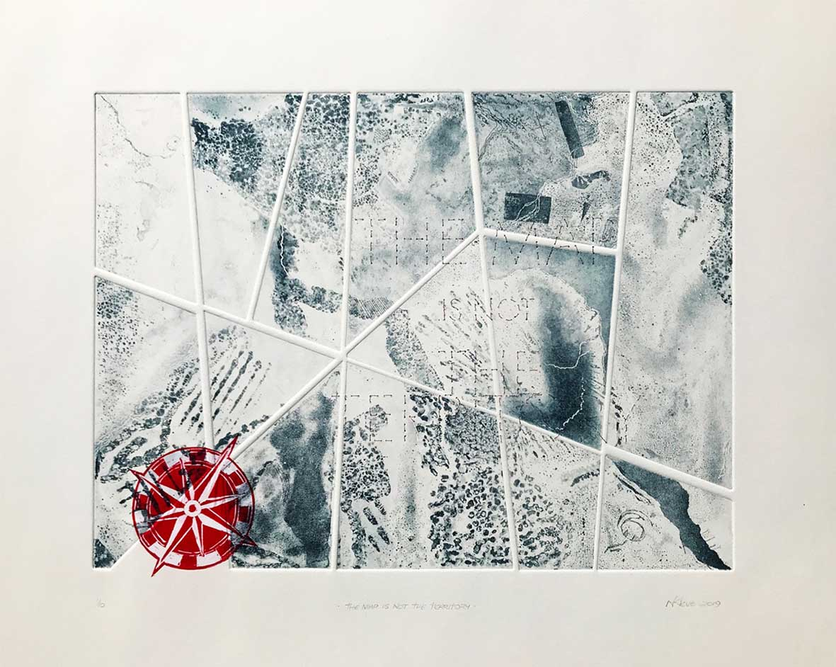 Noeleen Kleve The map is not the territory 2019 Etching with linocut & virtual stitching edition 1of10 69cm x 59,9 cm