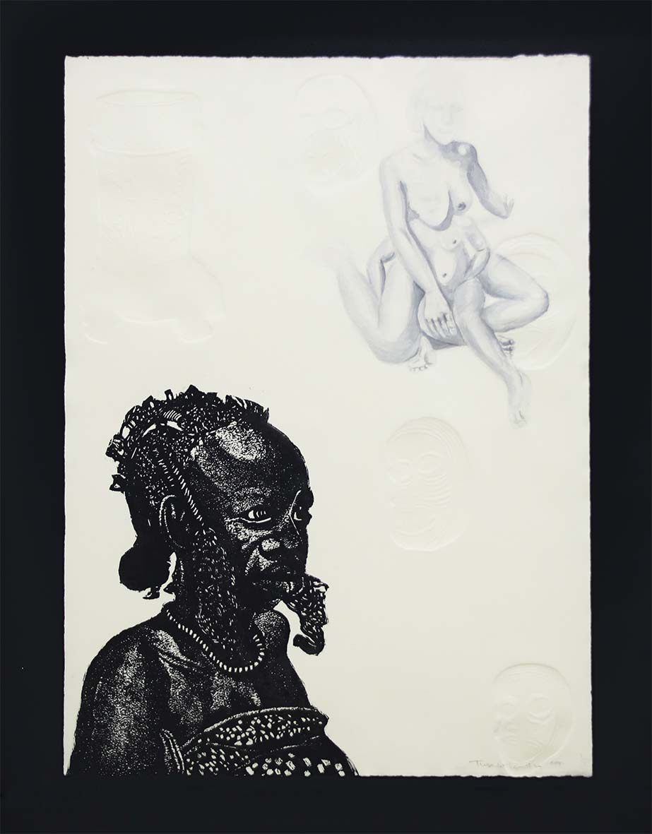 Tusevo Landu Mother Afrika ( Mother and Child) 2019 Linocut and ink on paper . embossing 53 x 37cm