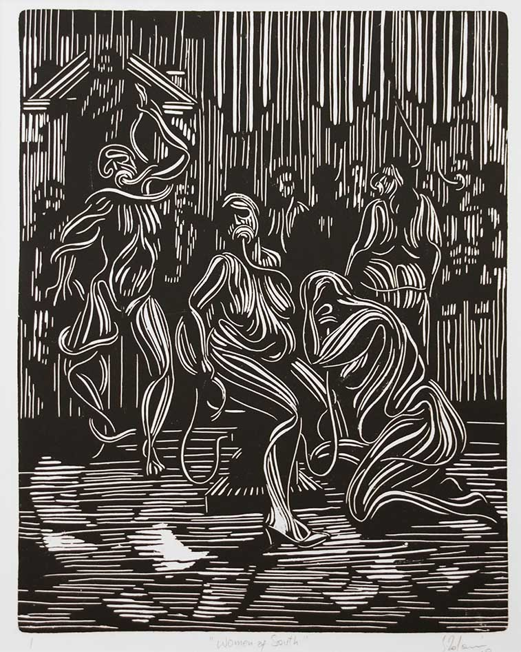 Zolani Siophungela Woman of the South 2019 Linocut , 1of1 45 x 55cm