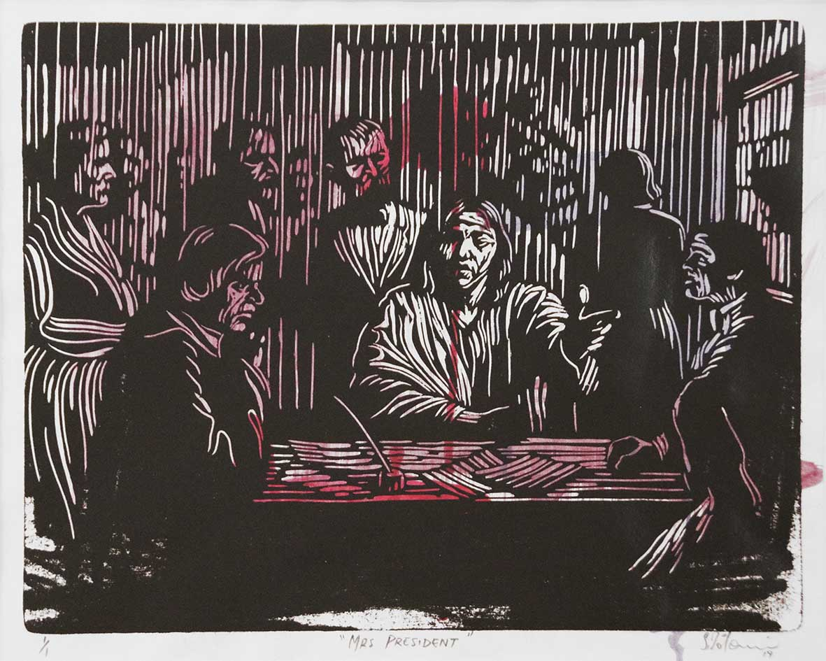 Zolani Siphungela Mrs. President 2019 Linocut and hand colouring, 1of1 40 x 33 cm