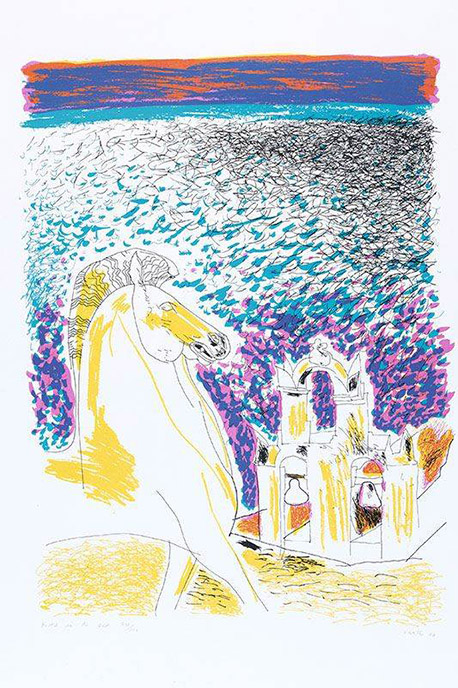 Andrew Clement Verster, (SA 1937 - ) Bottel in die See, 1987 Homage to Seferis - Poems by George Seferis Colour Silkscreen , 17OF100 58cm x 42cm