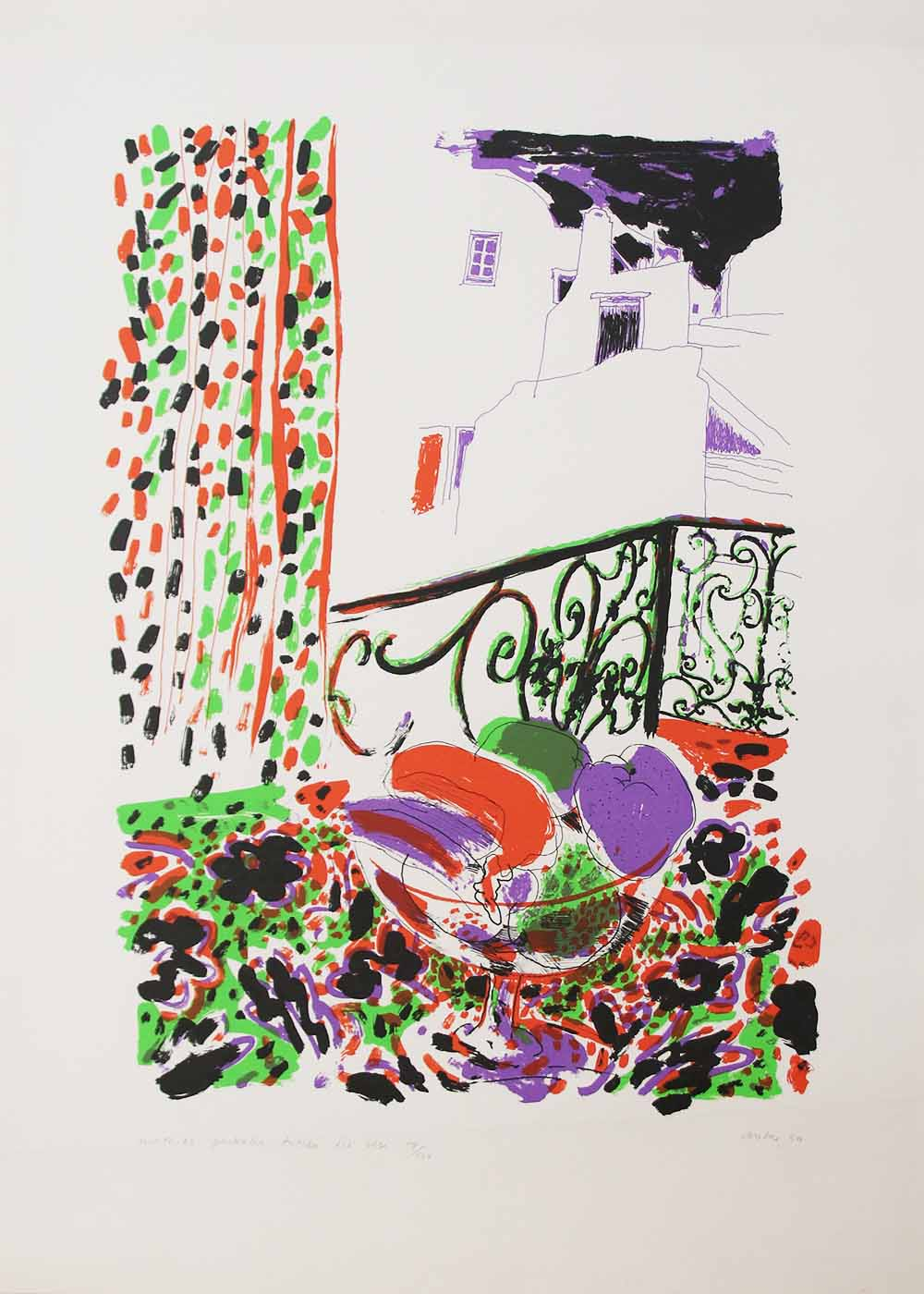 Andrew Clement Verster, (SA 1937 - ) Mathios Paskalis tussen die Rose, 1987 Homage to Seferis - Poems by George Seferis Colour Silkscreen , 17of100 58cm x 42cm