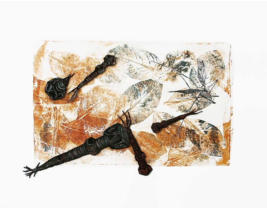 Scorched 1 2019 Mixed print collage. Monotype (gelprint) with etching on Chinese tissue and collagraph plates, 1/1 35.5 x 44.5 cm